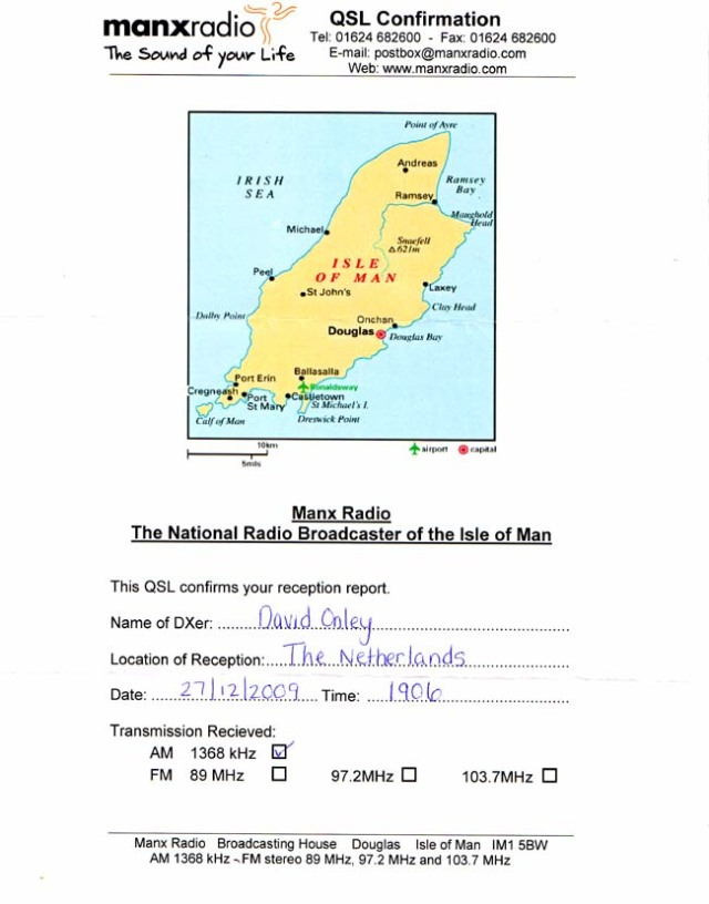 1368 khz MANX Radio - Isle of Man